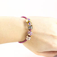 Браслет Charm с темно-розовой кожаной основой Арт. BS027LR, фото 2