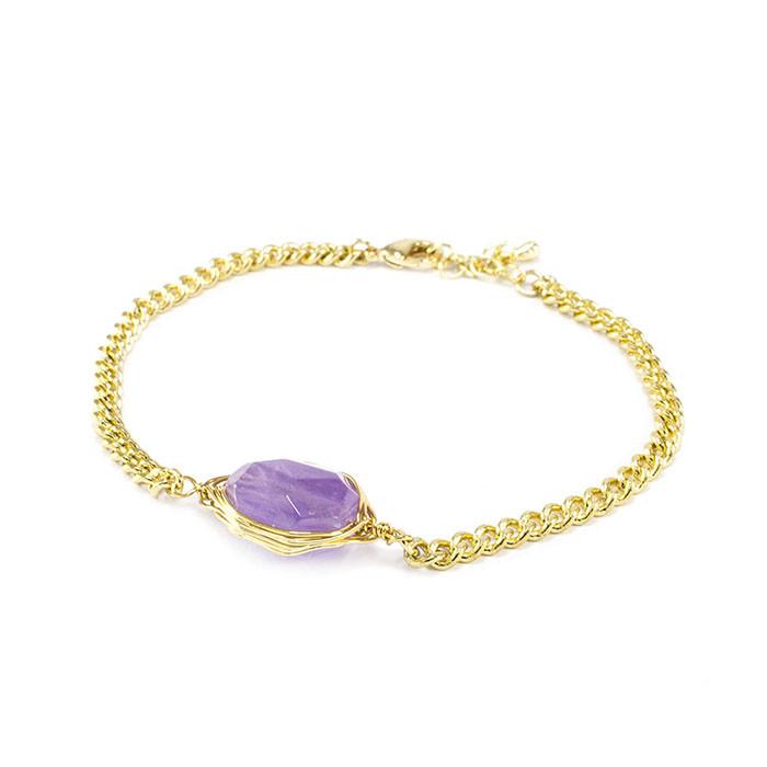 Браслет с фиолетовым камнем Арт. BS035SL