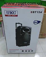 Мощная портативная колонка чемодан на 1000Вт UKC BT 15A+  ( 2 микрофонами и пульт управления)