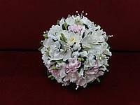 Свадебный букет-дублер из орхидей айвори с розовым