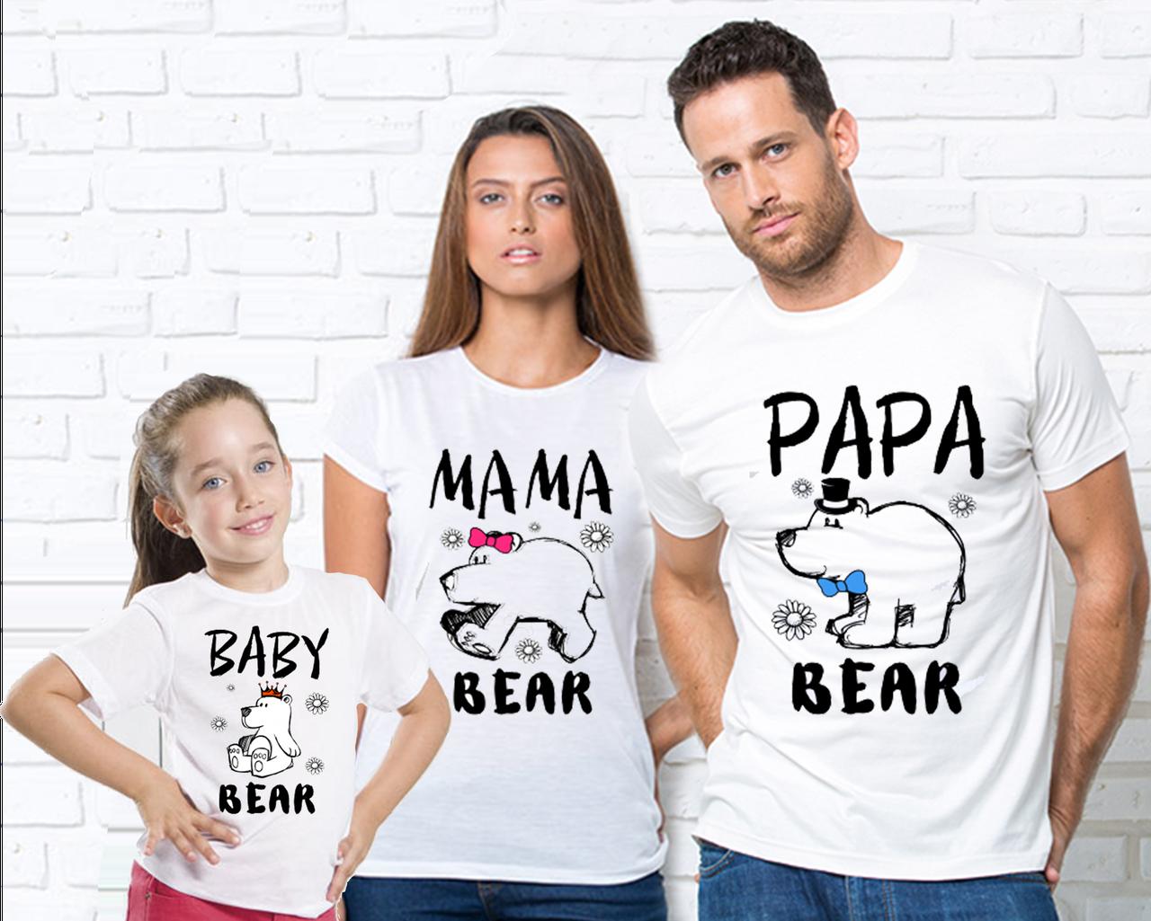 """Футболки белые для всей семьи с рисунком """"Медведи""""(врозслая и детская) Сімейні футболки"""