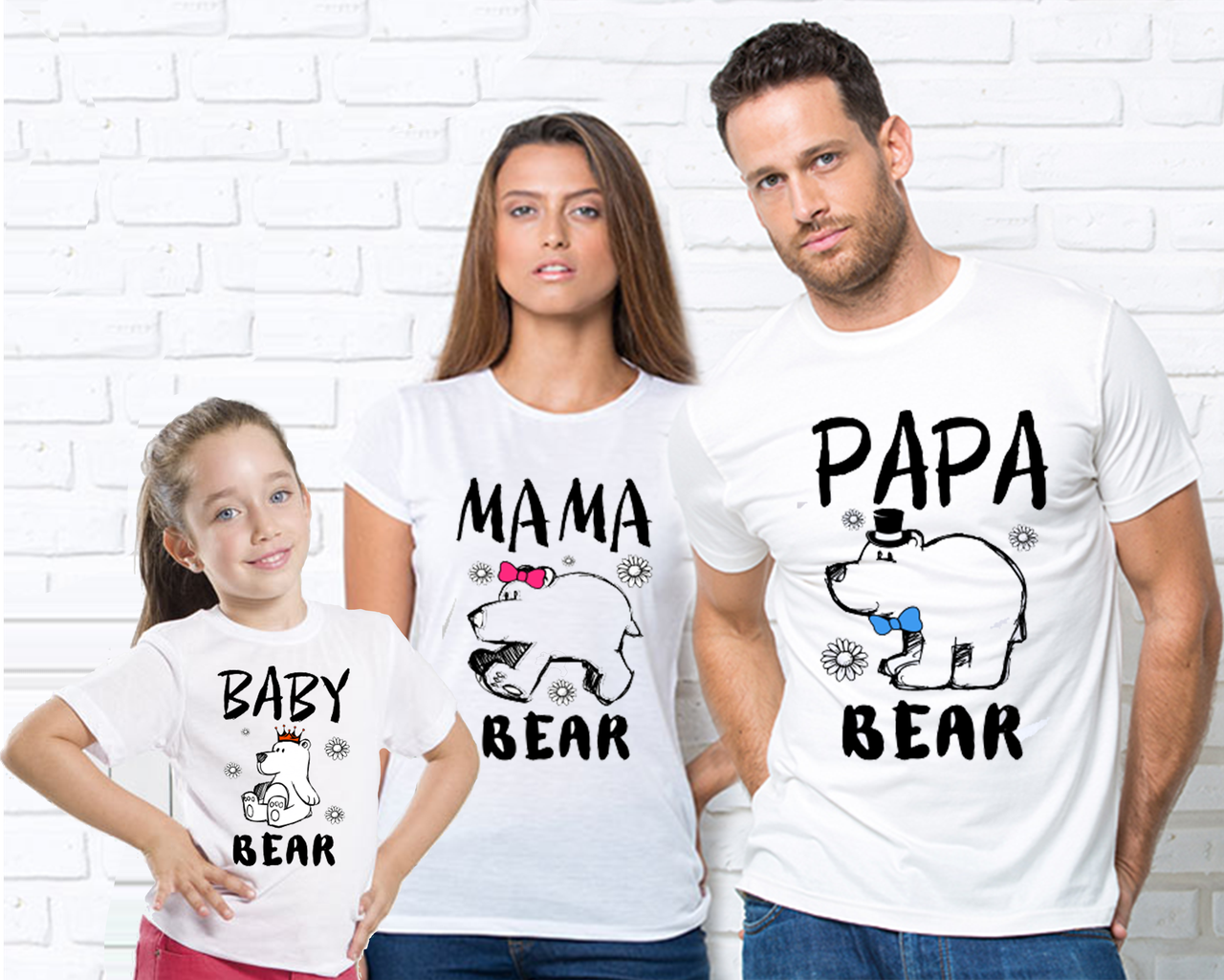 """Футболки білі для всієї родини з малюнком """"Ведмеді""""(врозслая і дитяча) Сімейні футболки"""