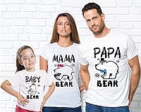 """Футболки белые для всей семьис рисунком """"Медведи""""(врозслая и детская)"""