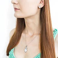 Набор сережки-гвоздики и кулон Сова серебристый Арт. ST023SL, фото 2