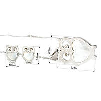 Набор сережки-гвоздики и кулон Сова серебристый Арт. ST023SL, фото 7