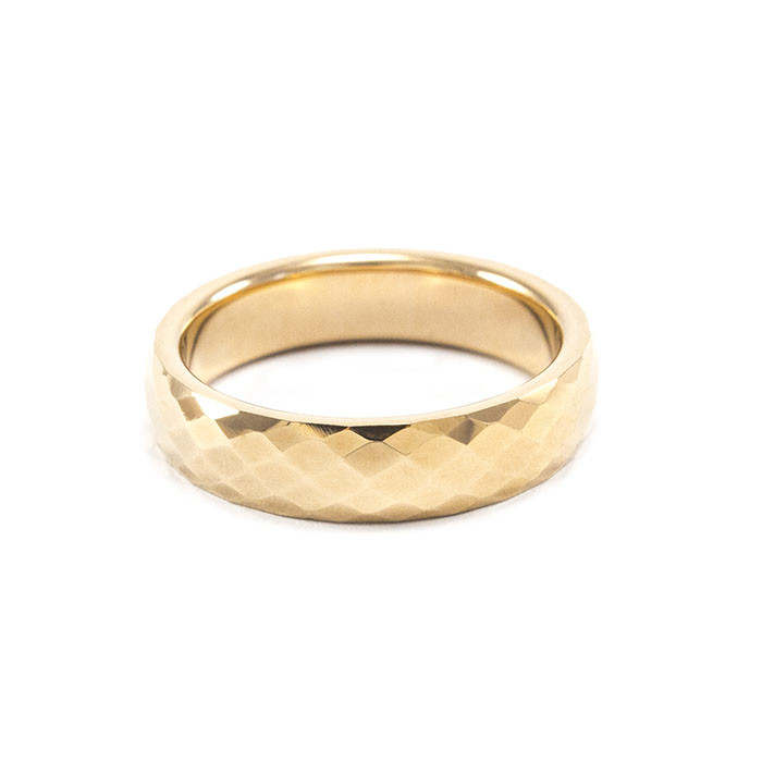 Кольцо вольфрамовое граненое золотистое Арт. RN001WF (18)