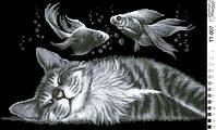 """Схема для вышивки """"Кот и рыбки"""""""