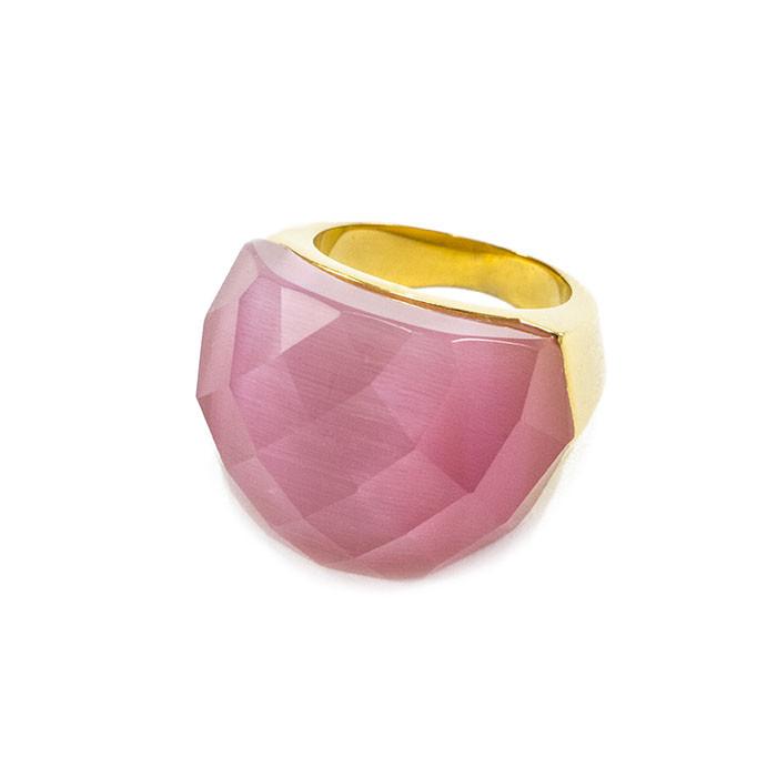 Кольцо крупное с розовым граненым камнем Арт. RN059SL (18)