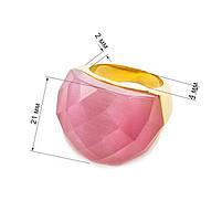Кольцо крупное с розовым граненым камнем Арт. RN059SL (18), фото 5