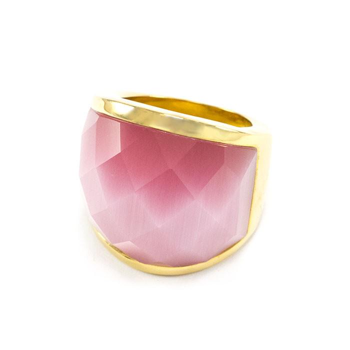 Кольцо крупное с розовым камнем Арт. RN060SL (18)
