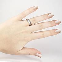 Кольцо с диагональной матовой полосой серебристое Арт. RN070SL (16), фото 2