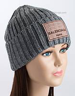 Женская шапка с отворотом Эля серая