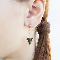 Сережки-гвоздики с черной треугольной вставкой Арт. ER065SL, фото 2