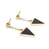 Сережки-гвоздики с черной треугольной вставкой Арт. ER065SL, фото 3