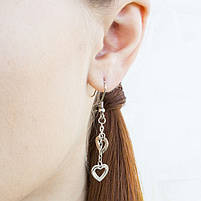 Сережки с подвесками Сердечки серебристые Арт. ER067SL, фото 2