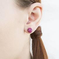 Сережки-гвоздики Кристальный шар 8 мм малиновые Арт. ER074SL, фото 2