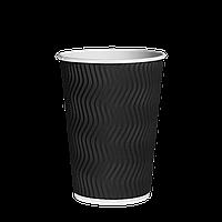 Одноразовый стакан  гофрированный, серия Черный волна 300мл. (20шт/30рук/600), под крышку КР80