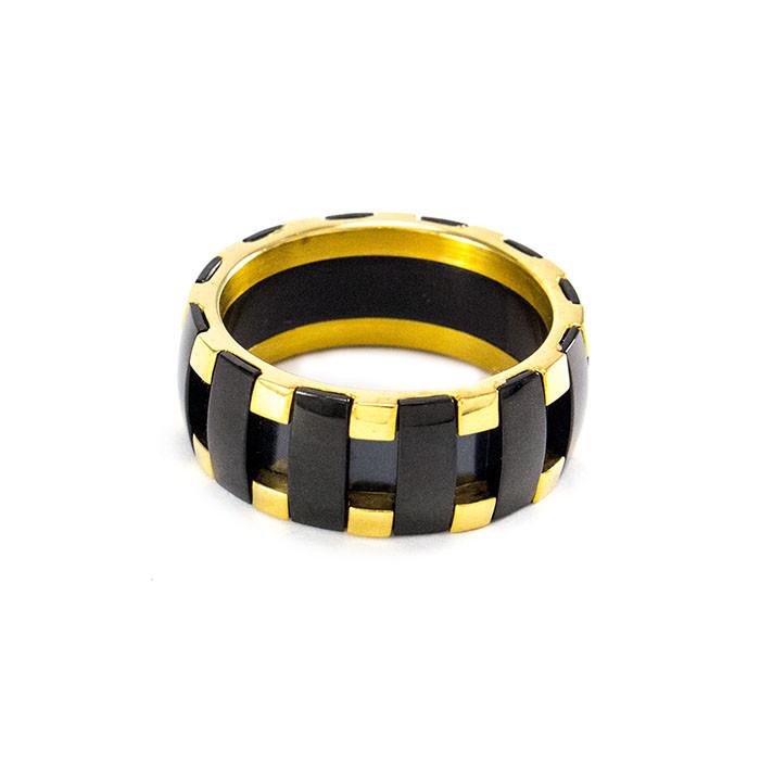Кольцо с черными вставками золотистое Арт. RN078SL (17)