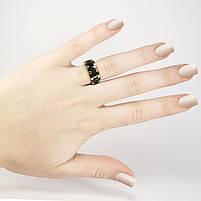 Кольцо с черными вставками золотистое Арт. RN078SL (17), фото 2