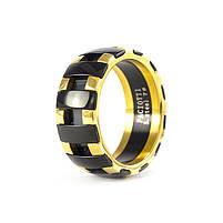 Кольцо с черными вставками золотистое Арт. RN078SL (17), фото 3
