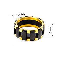 Кольцо с черными вставками золотистое Арт. RN078SL (17), фото 5