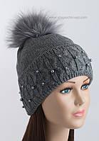 Женская шапочка с фактурным отворотом Фиби серая