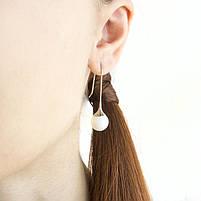 Сережки Белый Шар застежка петля серебристые Арт. ER075SL, фото 2