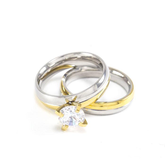 Два кольца серебристо-золотистых с фианитом и без Арт. RN087SL (17)