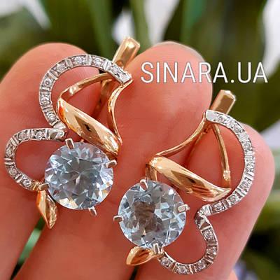 Золотые серьги с голубыми топазами - Серьги с натуральным топазом золото