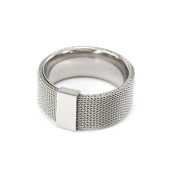 Кольцо из стали в виде кольчуги Арт. RNM001SL (20)