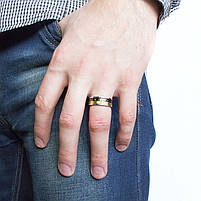 Кольцо из стали черно-золотистое с римскими цифрами Арт. RNM011SL (20), фото 2