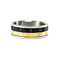 Кольцо из стали черно-золотистое с римскими цифрами Арт. RNM011SL (20), фото 4
