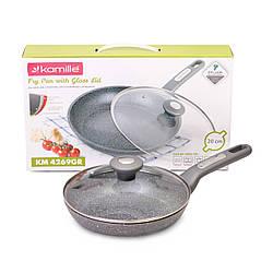 Сковорода Kamille 20 см с гранитным антипригарным покрытием и крышкой