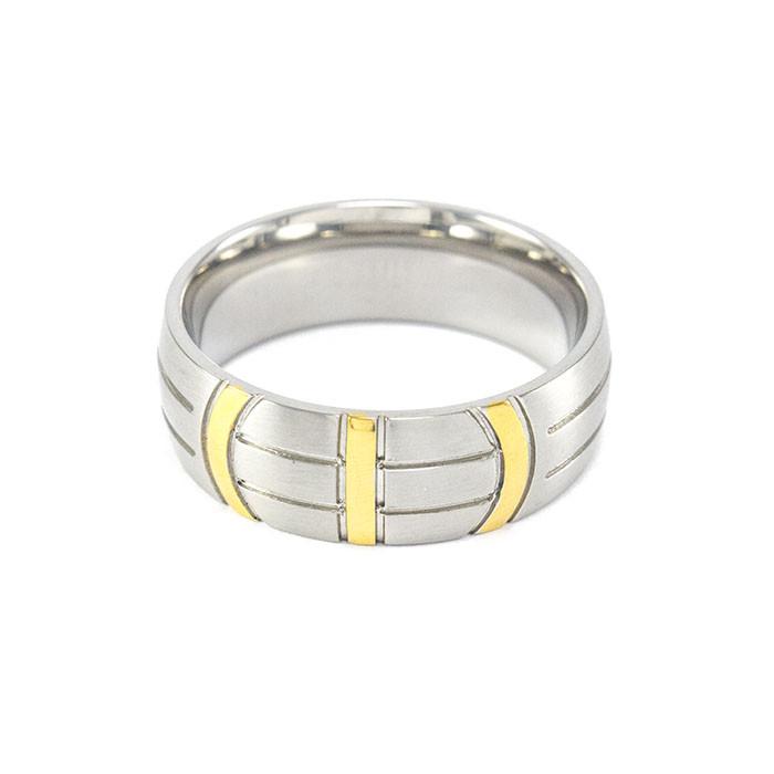 Кольцо из стали серебристое с желтыми полосами Арт. RNM012SL (21)