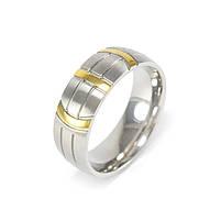 Кольцо из стали серебристое с желтыми полосами Арт. RNM012SL (21), фото 3