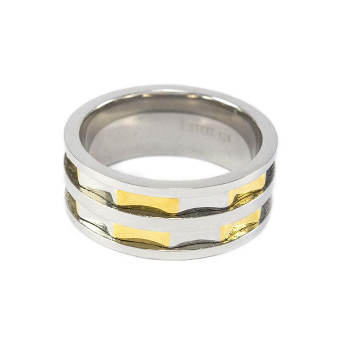 Кольцо из стали серебристое с золотистыми вставками Арт. RNM013SL (22)