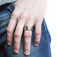 Кольцо из стали серебристое с золотистыми вставками Арт. RNM013SL (22), фото 2