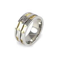 Кольцо из стали серебристое с золотистыми вставками Арт. RNM013SL (22), фото 3