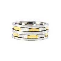 Кольцо из стали серебристое с золотистыми вставками Арт. RNM013SL (22), фото 4
