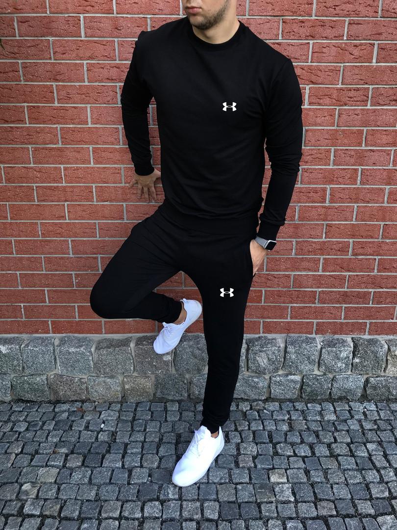 Спортивный осенний костюм Under Armor черный топ реплика