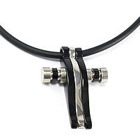 Кулон из стали крестик черный с серебристой полосой Арт. PDM001SL, фото 2