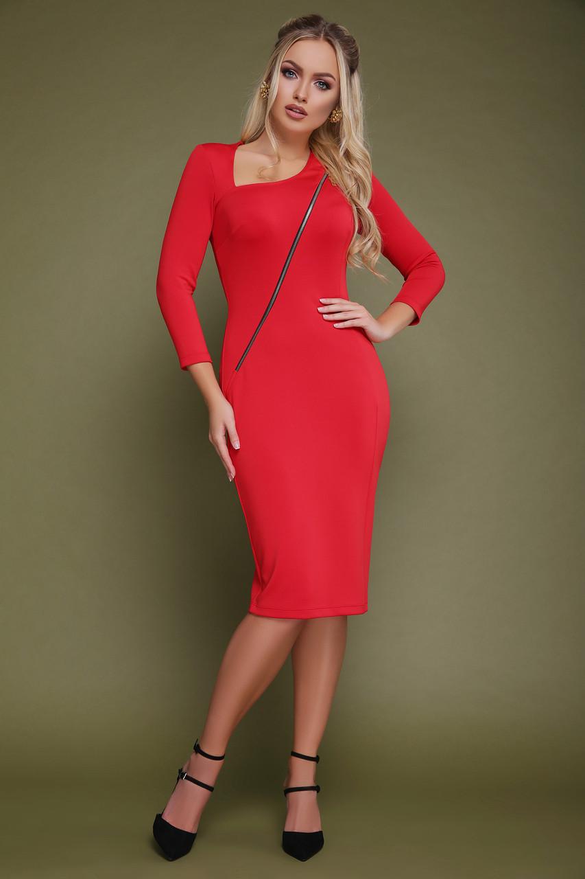 Осеннее платье миди приталенное рукав три четверти из дайвинга красное