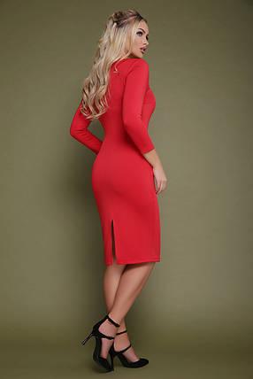 Осеннее платье миди приталенное рукав три четверти из дайвинга красное, фото 2