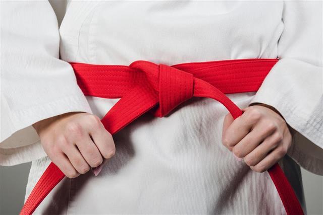 Пояс для кимоно красный MB-280R