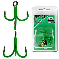Крючок-тройник DAM MADCAT® A-STATIC TREBLE Hook 6Х №2/0  4шт. (green)