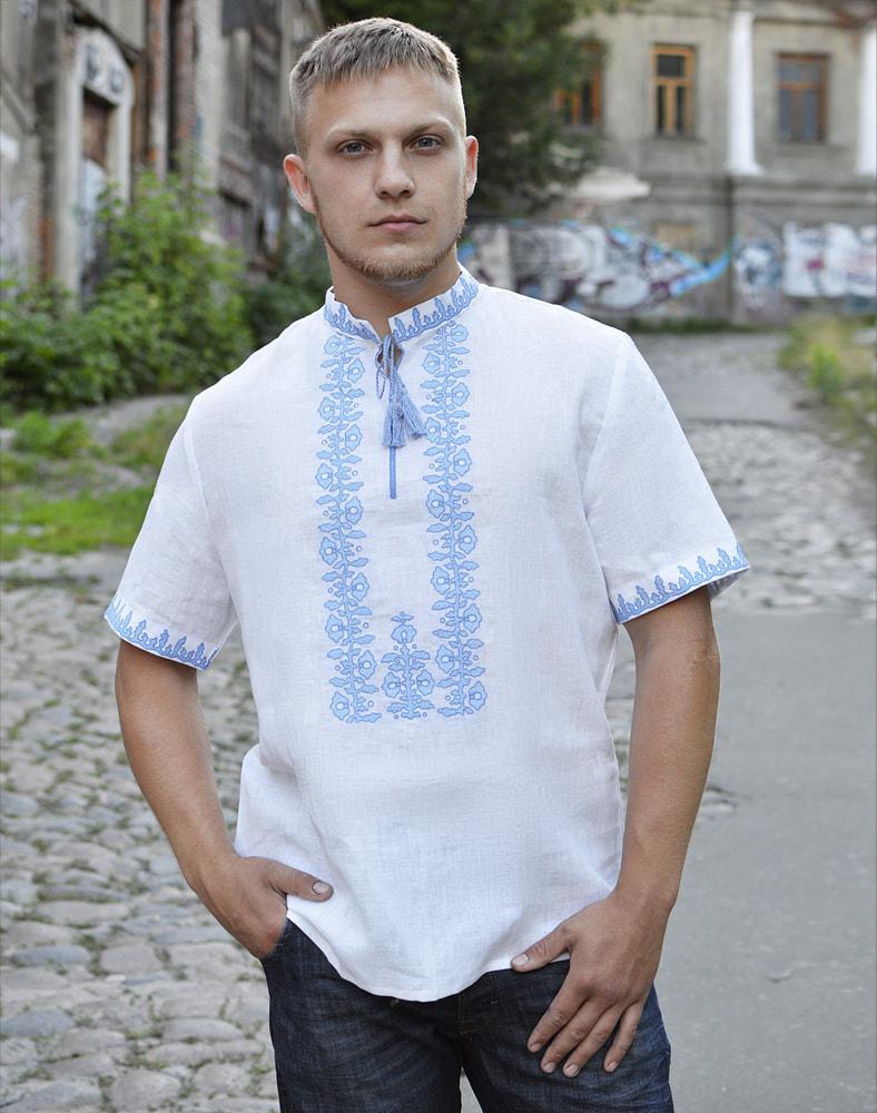 Біла вишиванка чоловіча літня лляна розміри в наявності 50  продажа ... 4bf1ddb1cb640