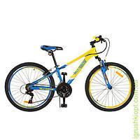 Велосипед 24д. алюм, V-брейк, двойн обод, Shimano, жел-гол, в кор-ке