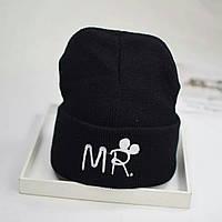 Детская тёплая  шапка  хип-хоп Микки черный