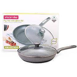 Сковорода Kamille 30 см с гранитным антипригарным покрытием и крышкой