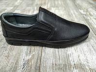 Натуральная кожа! Мужские туфли Goess кожаные мокасины без шнурка black